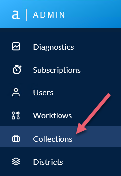 Select Collections in the left-hand menu of the Admin interface.