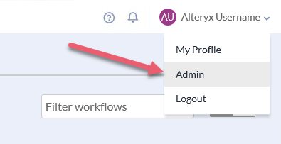 Select your username and select Admin to access the Gallery Admin interface.