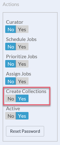 In the Actions panel toggle the Create Collections permission to Yes.