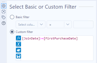 Screenshot of a custom filter with the condition JoinDate is greater than or equal to the FirstPurchaseDate