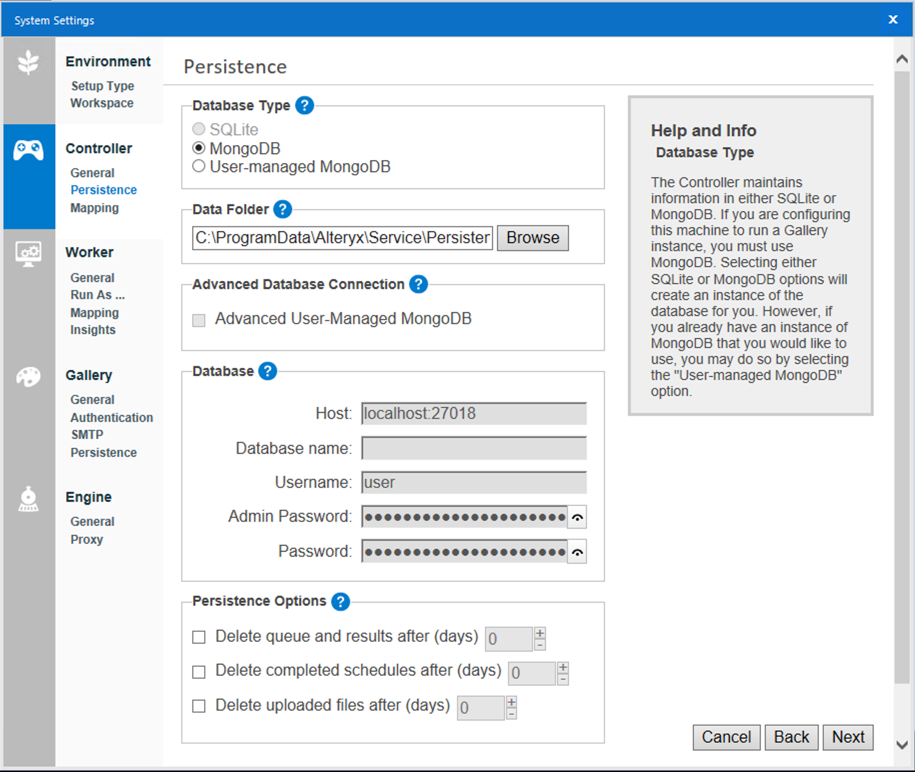 Screenshot of Controller Persistence screen which includes the following settings: Database Type, Data Folder, Advanced Database Connection, Database, and Persistence Options