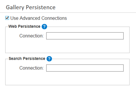Screenshot of gallery persistence settings with Used Advanced Connections option selected