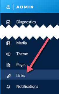 Screenshot of Admin toolbar highlighting Links page