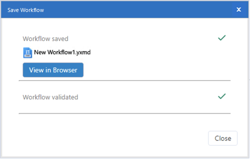 Screenshot showing View in Browser button on Save Workflow window in Designer.