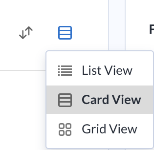 Screenshot showing View icon and view options