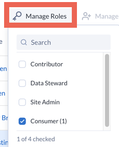 Screenshot of Manage Roles button on Users table