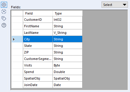 Image showing the Fields section of the Summarize tool Configuration window with the City field selected.