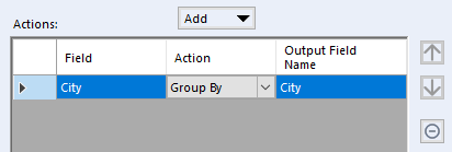 Image showing the Actions section of the Summarize Tool with the City field added
