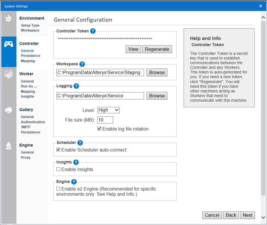 Screenshot of Controller General Configuration screen which includes the following settings: Controller Token, Workspace, Logging, Scheduler, Insights, Engine