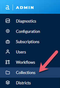 Screenshot of Admin toolbar with Collections highlighted