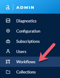 Screenshot of Admin toolbar with Workflows highlighted