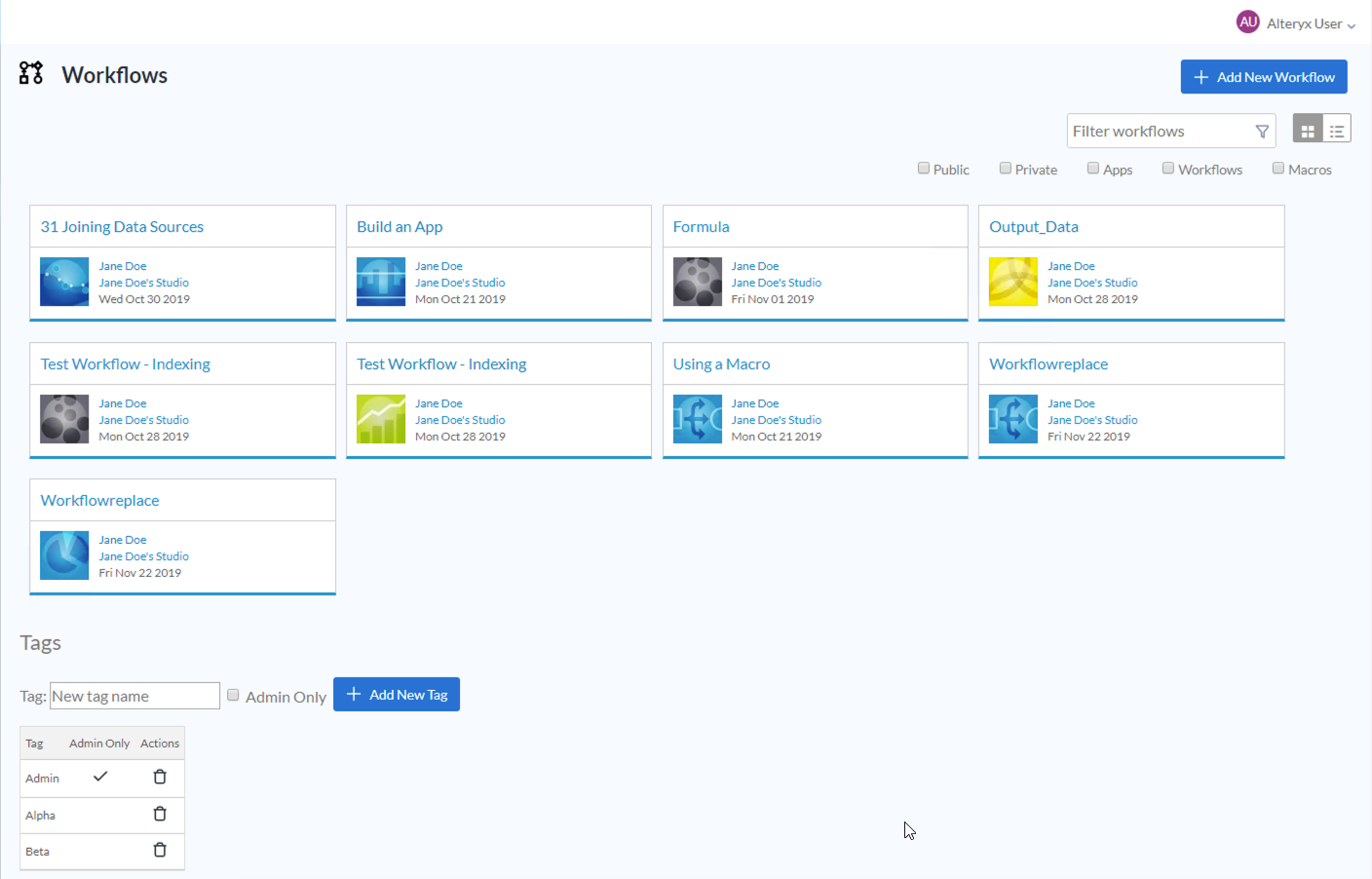 Screenshot of Workflows page from the Admin interface
