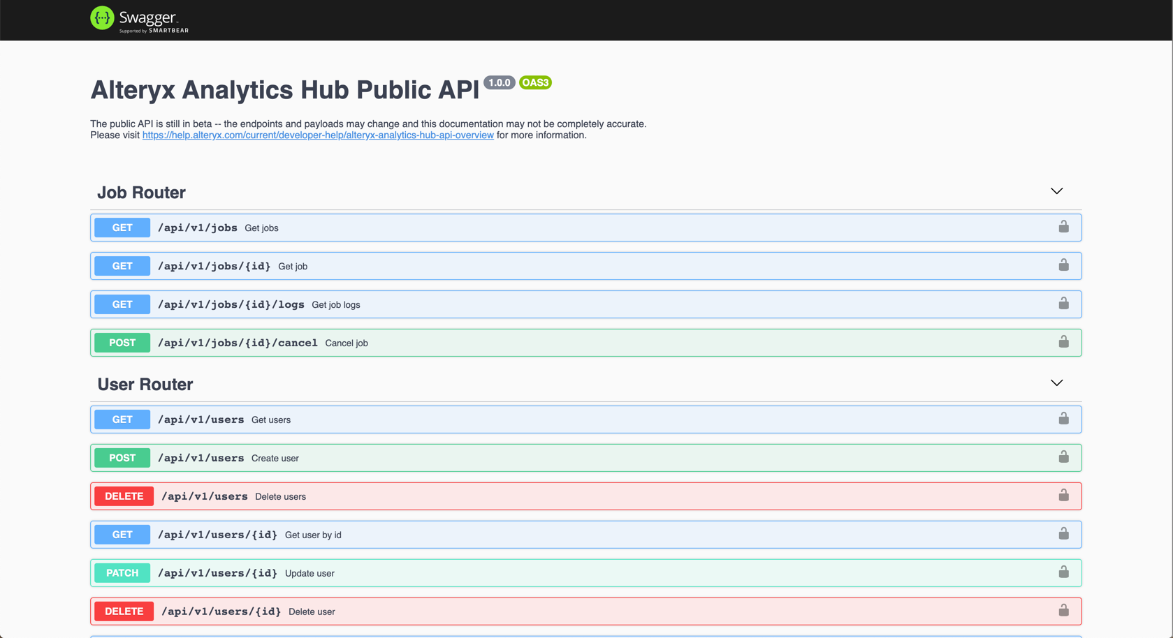 Screenshot of AAH API Swagger Documentation