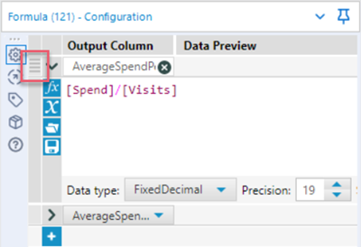 "Image showing the Formula tool expression editor with the ""Reorder"" icon highlighted."