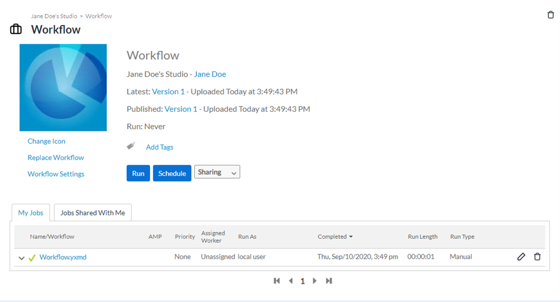 Screenshot of Workflow Details page