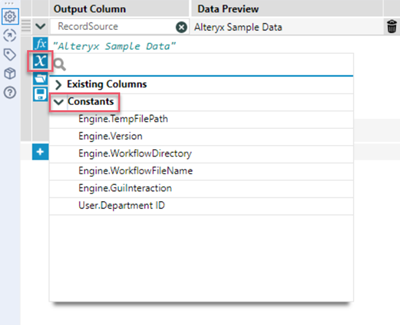 Image of the Formula tool Expression Editor with the Columns and Constants icon highlighted.