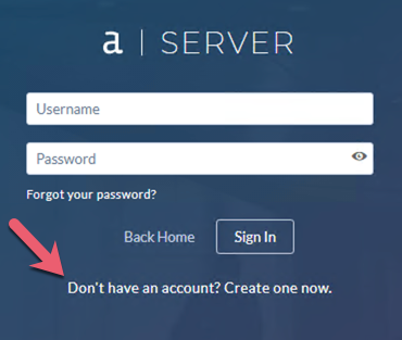 Screenshot of Don't have a login link on sign-up screen