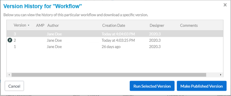 Screenshot of workflow version history screen