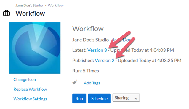 Screenshot of link to workflow versions